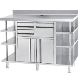 Mueble Mesa Cafetería con 3x3 Estanterías
